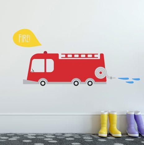 מדבקת קיר Fire Truck