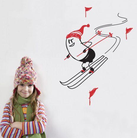 Ski Wally מדבקת קיר